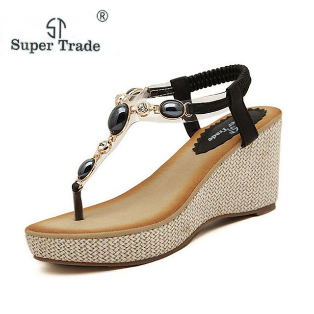 cdcf256a620e2 2018 Bohemian Shoes Woman Diamond Comfortable High Hell Wedges Women Sandals  Soft Rubber Hand-Beaded Style Sandals ST999-1