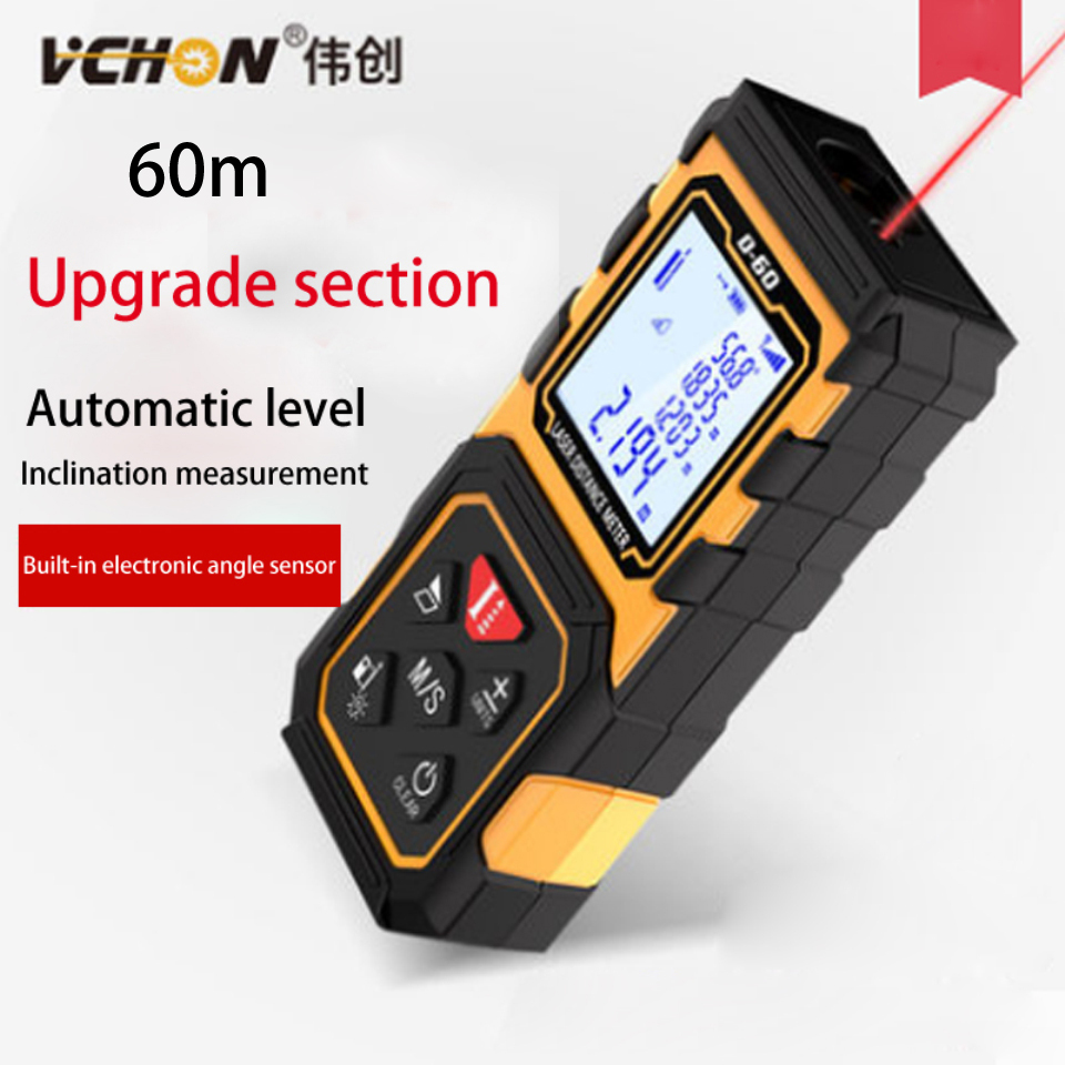 vchon laser rangefinder digital laser rangefinder distance meter 60m laser tape measure device ruler distance area volume tools free shipping kapro 810 clamp device laser infrared horizontal marking ruler