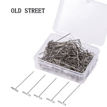 50 Pieces Wig T Pins for Holding Wigs Silver 32mm Long T-pins Styling Tools For Wig Display OLD STREET(China)
