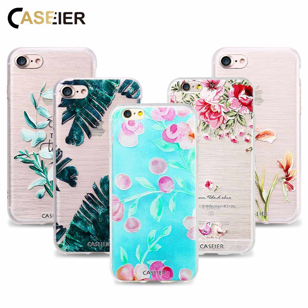 CASEIER Spring Phone Case para iPhone 7 8 Plus Soft TPU Ultrafino 3D Relief Pattern Cover para iPhone 7 8 Silicona Funda Capinha