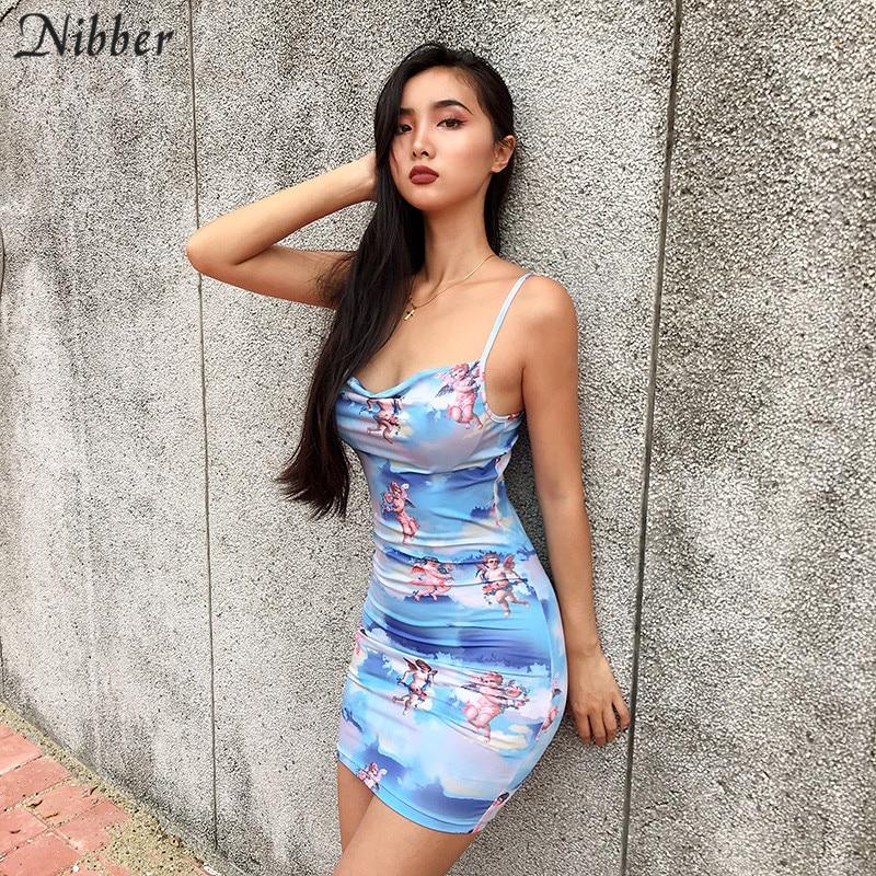 52e86441b Caucho dama encantadora Cupido imprimir vestidos nueva moda 2019 mujeres  vestido de fiesta de playa ocio vacaciones Delgado ropa de casa