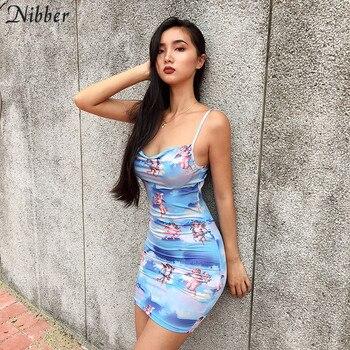 c005fed84 Nibber lady lovely Cupid print vestidos nueva moda dulce 2019 mujeres  vestido de fiesta playa ocio vacaciones Slim Soft home ropa
