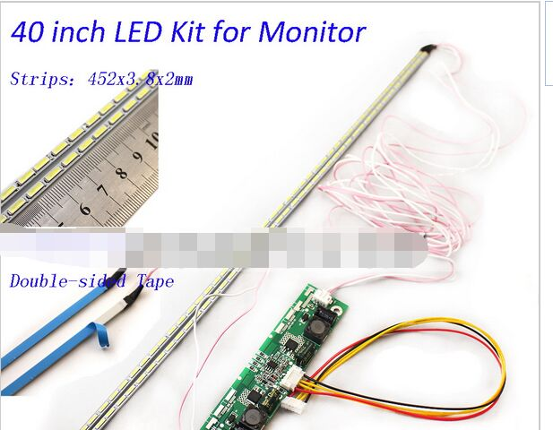 40 Inch LED Aluminum Plate Strip Backlight Lamps Update Kit For LCD Monitor TV Panel 2 LED Strips 452mm Free Shipping