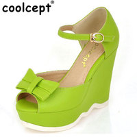 CooLcept miễn phí vận chuyển chất lượng dép nêm nền tảng nữ sexy lady thời trang giày nữ P14042 nóng bán EUR kích thước 34-39