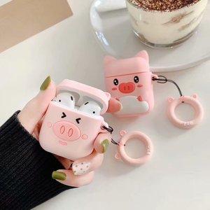 Image 2 - Чехол для наушников с защитой от потери для Apple Airpods, милый мягкий силиконовый чехол для женщин и девочек с 3D рисунком розовой свиньи для Airpods, с ремешком кольцом