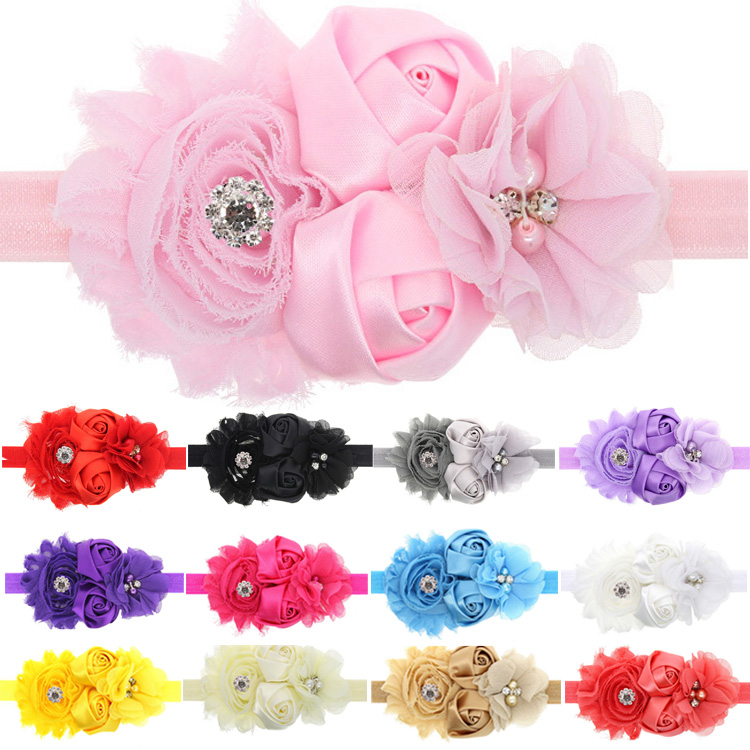 1PC Cute Lovely Kids Girls Lace Sunflower Two Rose Flowers Pearl Rhinestone Hairband Headband Hair Band Accessories