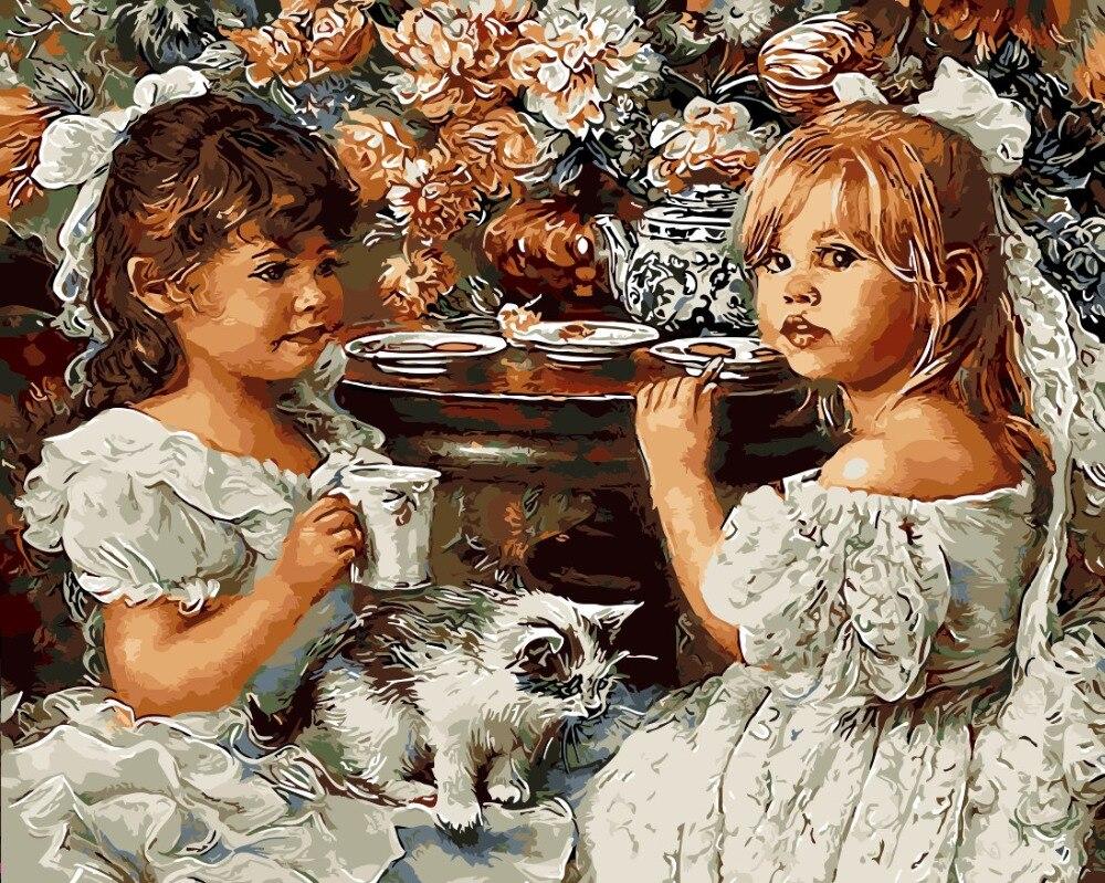 Indah Gadis Kecil Ibu Dan Anak Minyak Lukisan Gambar Dengan
