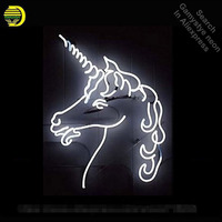 New Horse Neon Sign Neon Bulb Sign Real Glass Tube White Neon Lights Recreation Iconic Sign