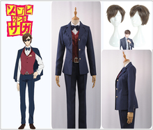 Anime zombie land saga cosplay Manager Boss Kotaro Tatsumi Cosplay Costume Jacket Vest Pants S-XL Blue Male Suit Cosplay Wig