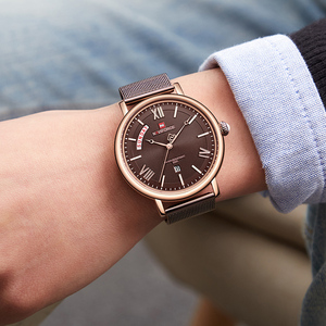 Image 2 - NAVIFORCE Watch Men Fashion Business Watches Mens Casual Waterproof Quartz Wristwatch Stainless Steel Mesh Relogio Masculino