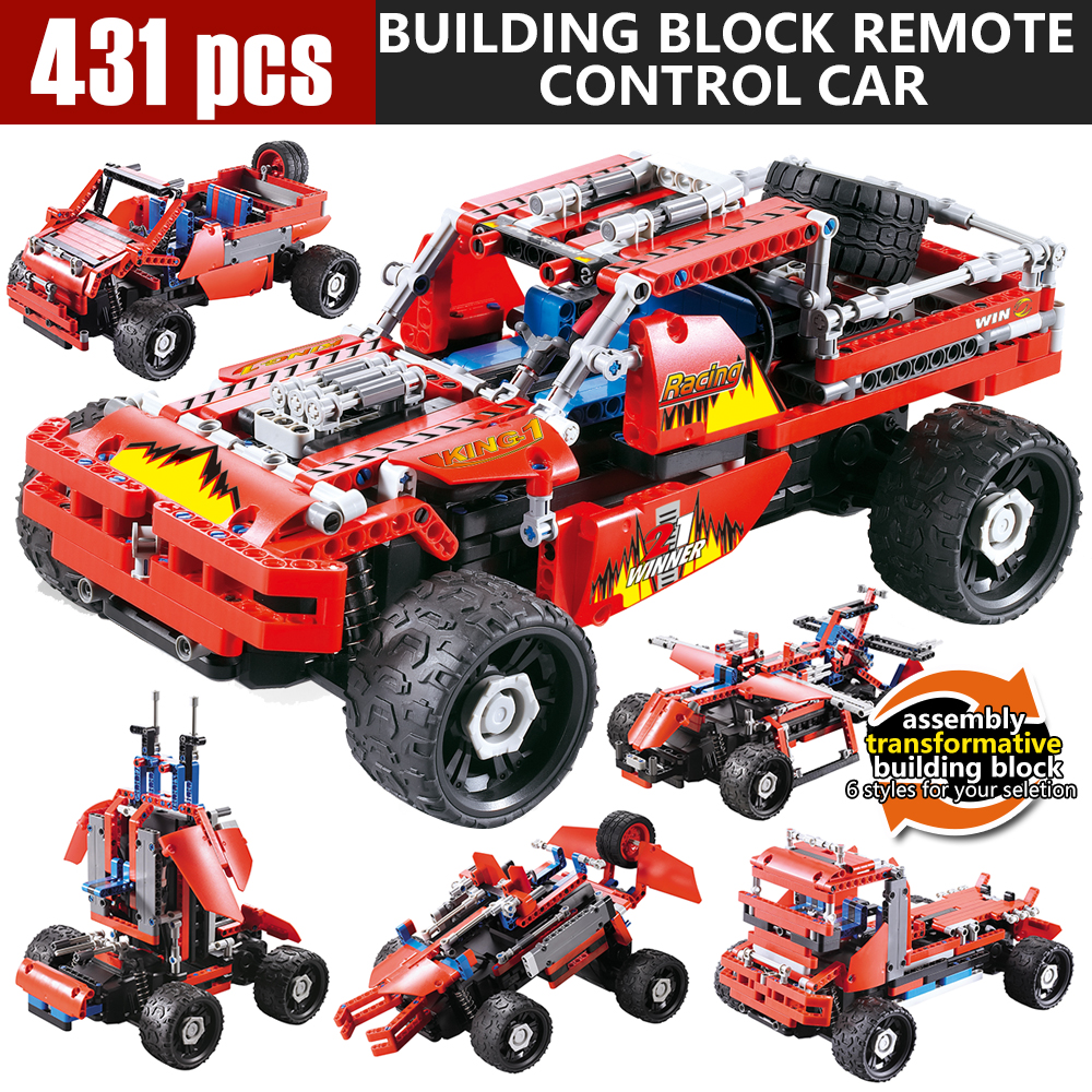 5 In 1DIY Building block Rc cars Assemble Car Technic Bricks Remote Control Toys Building Blocks Bricks Educational toys 12dd building blocks assembled remote control car educational toys red black