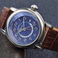 Corgeut caja de acero Inoxidable de Lujo 43mm blanco Azul dial GMT fecha calendario correa de cuero resistente al agua relojes automáticos de los hombres