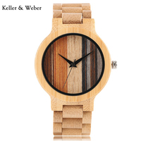KW Modern Men Wrist Watch Fold Clasp Quartz New Arrival Unique Colorful Dial Nature Bamboo Full Wood Bangle Casual for Men Women