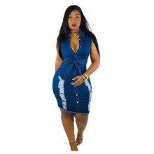 2019 Women Summer Single Button Open with Sashes Hole Cut Sleeveless Denim Knee Length Midi Dress Vestidos 3 Color S-3XL L5055