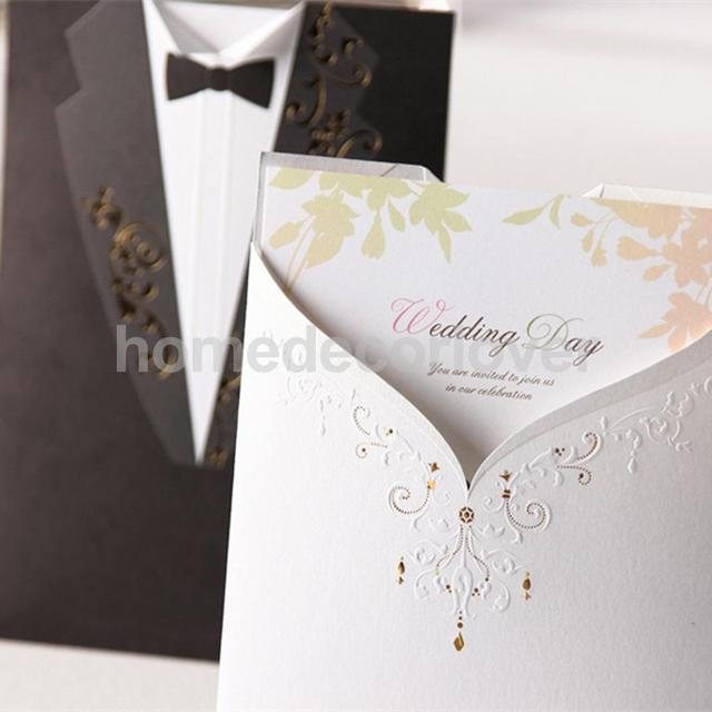 10 Set Paper Bride Groom Wedding Invitations Tuxedo Cards Stickers ...