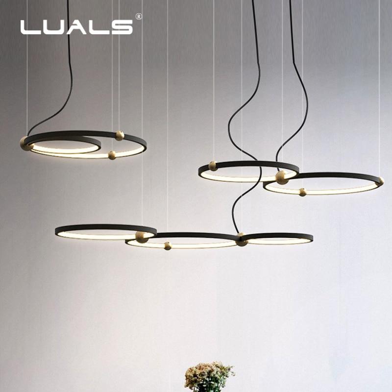 Moda Coperta di Illuminazione Moderna Lampada A Sospensione A LED Anelli di Sospensione Apparecchio Nero New Light Apparecchio di Casa Art Deco Appendere Le Luci