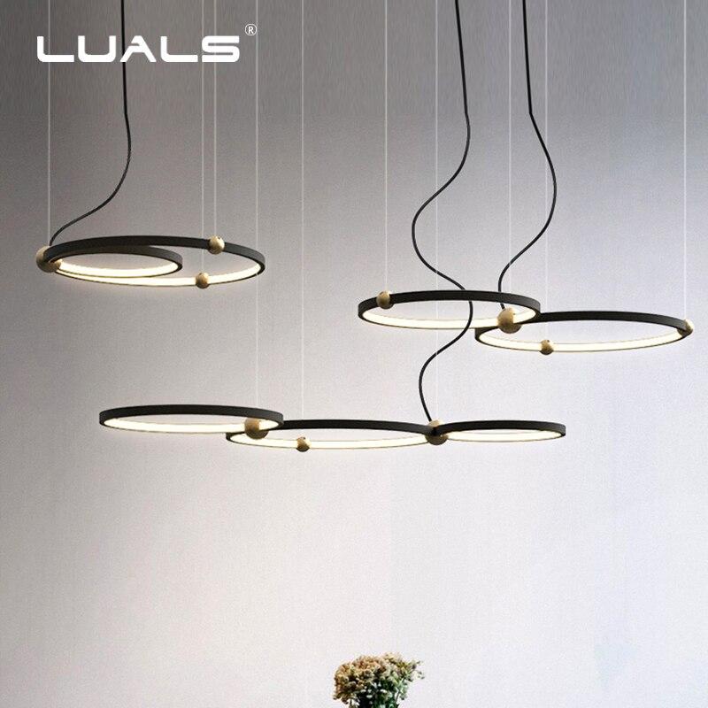 Mode éclairage d'intérieur Moderne pendentif led Lampe Anneaux Suspension Luminaire Noir Nouveau Luminaire Maison Art Déco suspensions lumineuses