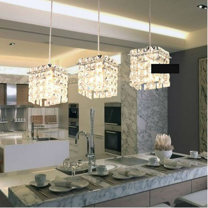 3 head Modern LED crystal chandelier rectangle stainless steel pendant lamp luster light  Restaurant droplight E14 lamp 110V260V restaurant crystal lamp square postmodern simple stainless steel bronze villa luxury led modern crystal chandelier for bedroom