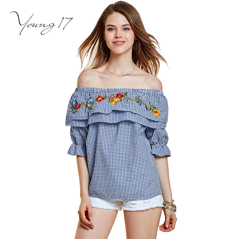 Beauty Fashion Group: Young17 Girl Blouse Plaid Blue Women Off Shoulder Backless