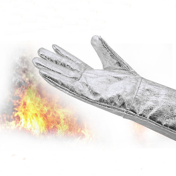 Five Finger Aluminium Foil Heat And Water Resistant Working Fire Emergency Gloves Oil Field Gloves Proof Gloves 500&800 Degrees 500 degrees heat insulation gloves high temperature resistant gloves to hot flame retardant aluminum foil meta aramid fire luvas