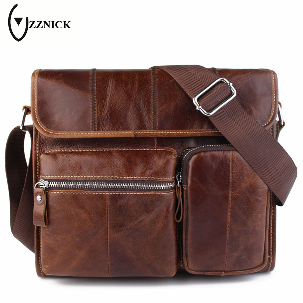 ZZNICK 2018 New Mens Shoulder Bag Satchel Top Genuine Cowhide Leather Messenger Bags Fashion Cross Body Bags Handbag For Men ...