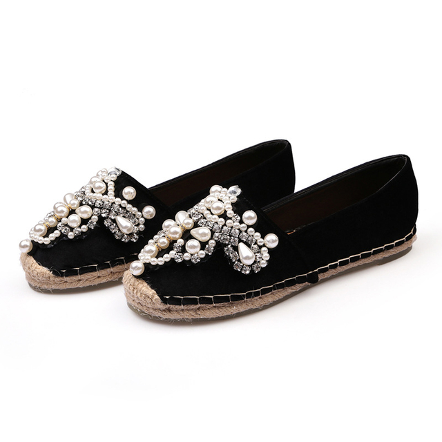 Luxury Brand 2018 Spring Women Designer Crystal Pear Flats Fashion Rhinestone Comfort Ballerina Flat Low Heel Ladies Boat Shoes