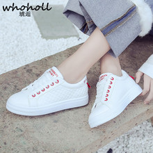 Whoholl 2018 White Pink Air Mesh Student Breathable Lace Up Outdoor Women Shoes Lightweight Woman New Vulcanized Sneakers