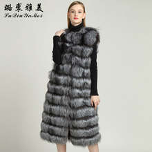X-Long Natural Silver Fox Fur Vests for Women Winter 2017 New Brand Coat Sleeveless Jackets 110cm Real Fur Vests Fashion Warm