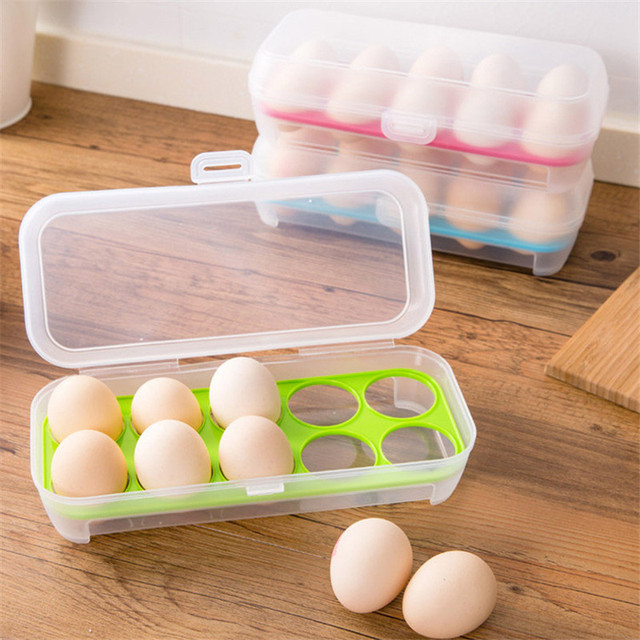10 grids Single Layer Refrigerator Food 10 Eggs Airtight Storage container plastic Box for Kitchen Bar fridge supply