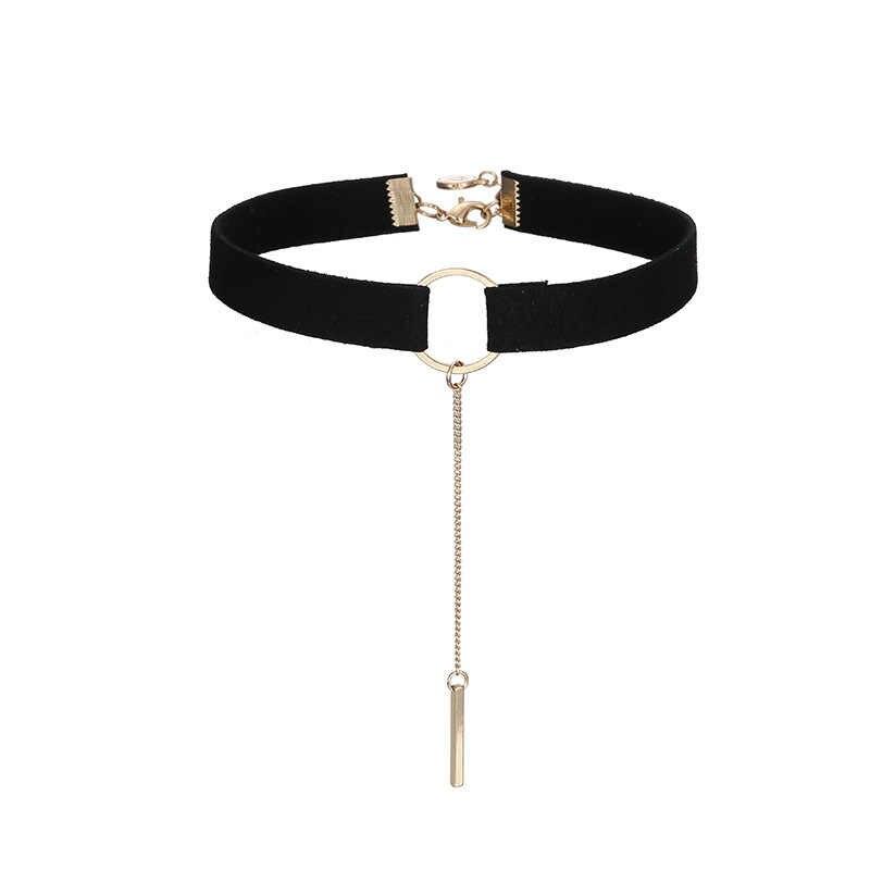 เกาหลีรุ่น Choker สร้อยคอชุดสำหรับผู้หญิงสีดำยาวสร้อยคอ Collier Chain แฟชั่นเครื่องประดับ