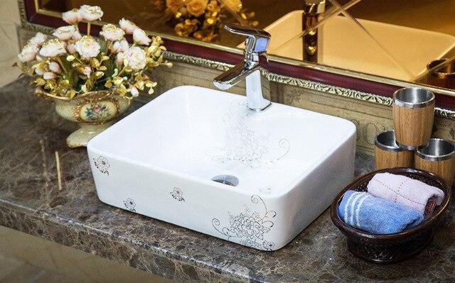 Rechthoekige jingdezhen badkamer keramische gootsteen wastafel