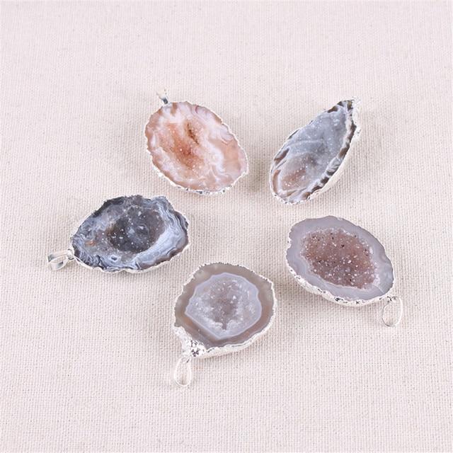 1Pc geoda Agates colgantes Chapado en plata forma Irregular con amatistas p rpura colgante de cuarzo