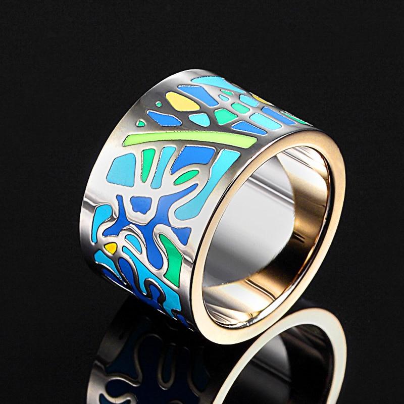 Spīdīgas sievietes Esmalte emaljas gredzeni no nerūsējošā tērauda rotaslietas Sieviešu Anel Aneis rotaslietas gredzeni moderni sieviešu pirkstu gredzeni Bijoux
