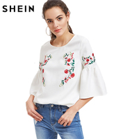 SheIn Women Blouses Summer 2017 Three Quarter Length Sleeve White Ladies Tops Flower Embroidered Fluted Sleeve