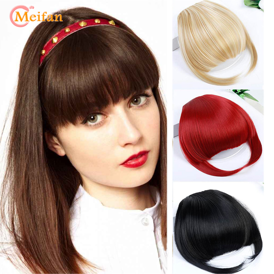 MEIFAN Women Fake Bangs Extensions False Fringe Clip On Fringe Hair Clips Brown Blonde Adult Fashion Bangs Accessories