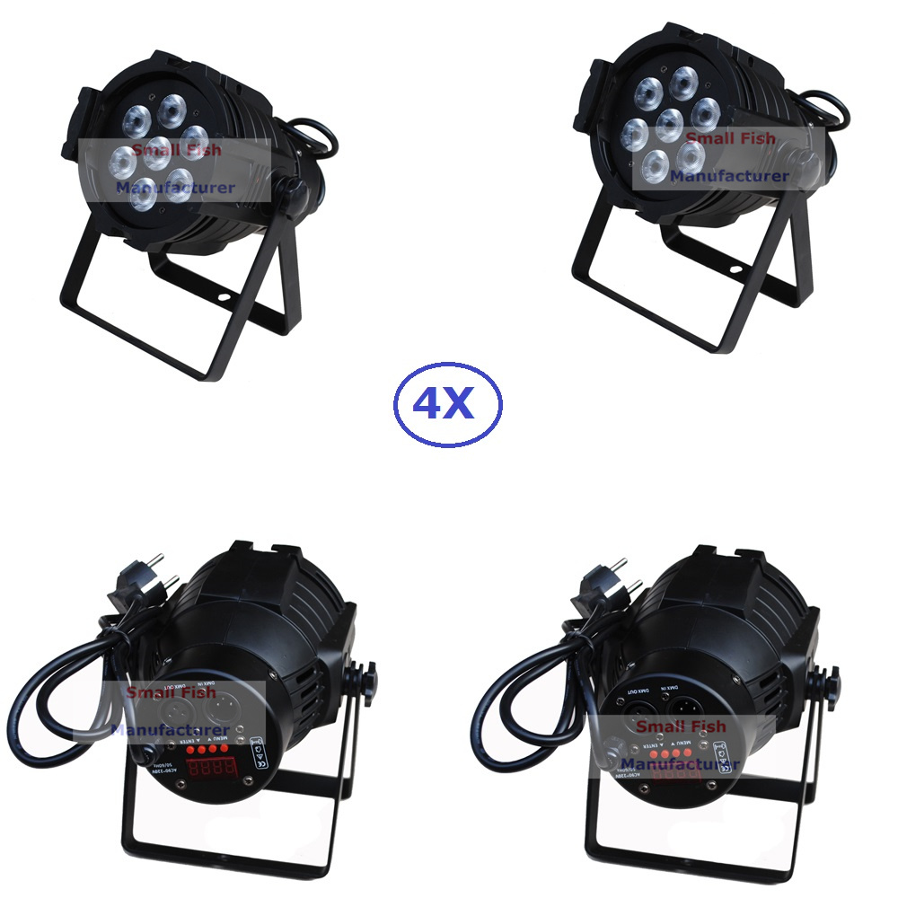 4xLot Sales 2016 Led Par Can 7x10W RGBW 4IN1 Quad Color Mini Par Led DMX Light High Power DJ Disco Strobe Stage Projector Lights 4xlot free shipping led par can 54x3w rgbw led par light strobe dmx controller for dj disco bar strobe dimming effect projector