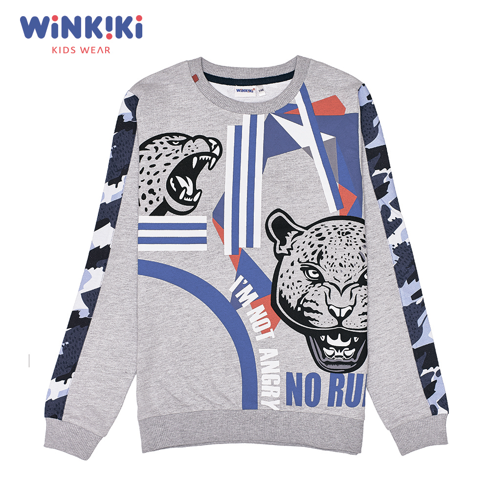 Hoodies & Sweatshirts WINKIKI WTB82256 children clothing kids Cotton Gray Boys Casual spring autumn cartoon dog kids sweater boys hoodies jackets cotton zipper boys sportsuit children long sleeved outerwear jacket