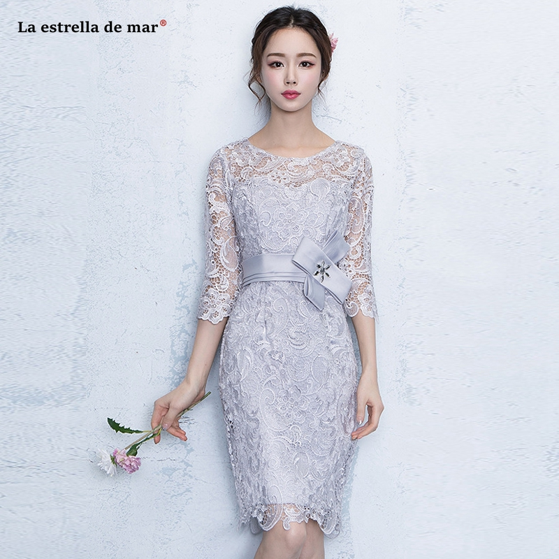 94a9b37971a Coctail dress2019 new lace crystal Three Quarter sleeve silver sexy mermaid cocktail  dresses Tea Length robe