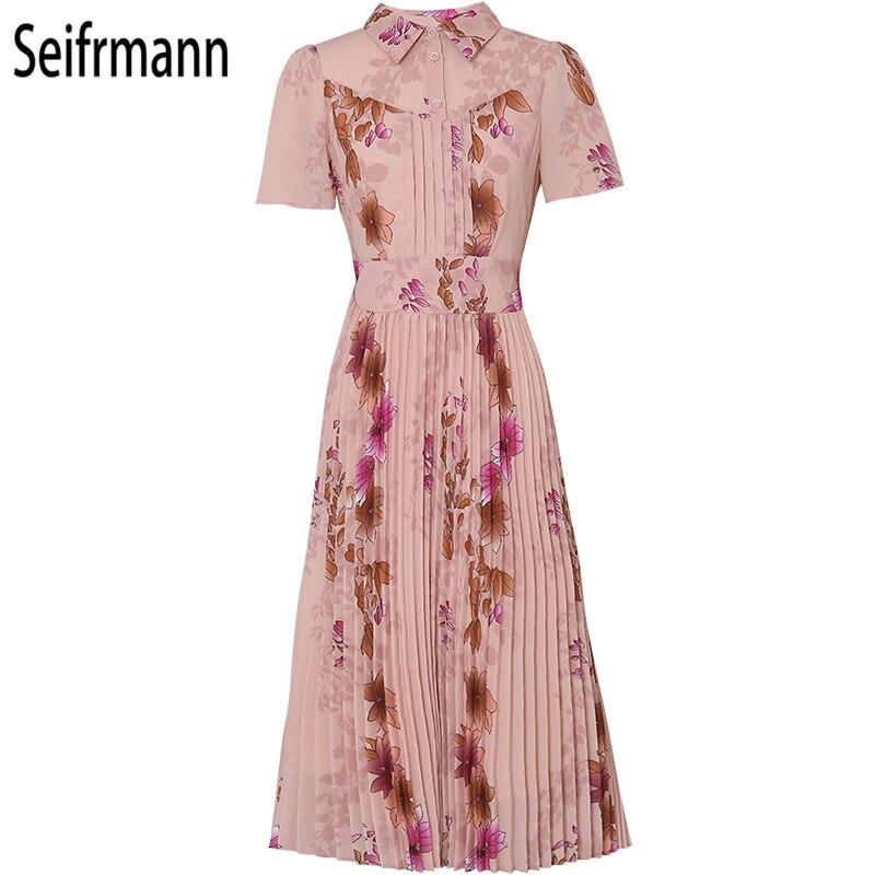Seifrmann New 2019 Women Spring Summer Dress Runway Fashion Designer Draped Floral Printed Elegant Vintage Pleated Dresses in Dresses from Women 39 s Clothing