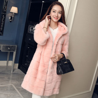 LTGFUR 2017 New Style Whole Peel Import Long Mink Coats With Hood Women Hood Fur Coats