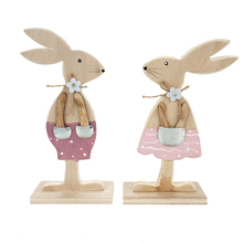 Easter decorations 1 pair of wood rabbit Pretty Rabbit&Egg with ribbon stand decoration diy gift Room Office Decor
