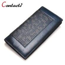 CONTACT'S echtem Leder brieftasche frauen luxusmarke lange Weibliche clutch taschen damen kartenhalter hohe qualität dollar preis