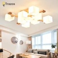 Wood Modern Led Chandelier Lights For Living Room Kids Bedroom Square Indoor Ceiling Chandelier Lamp Fixture lustre moderno