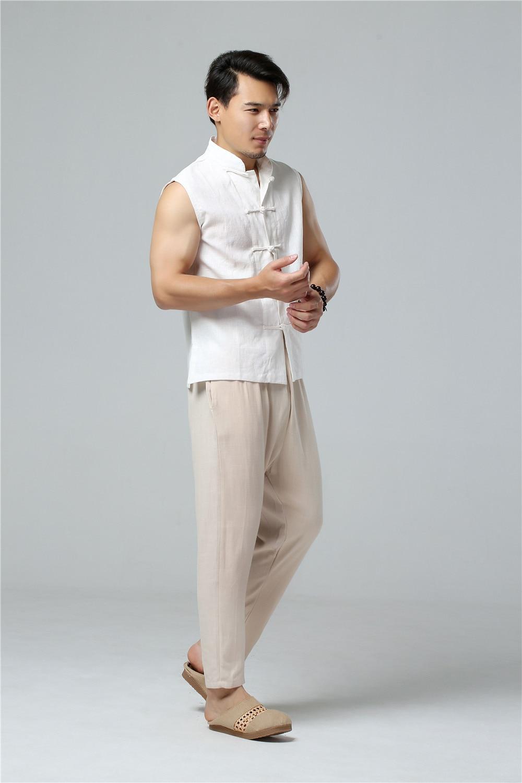 LZJN 2019 Men's Summer Waistcoat Chinese Style Vintage Breathable Linen Button Down Kung Fu Shirt Sleeveless Vest Jacket  (10)