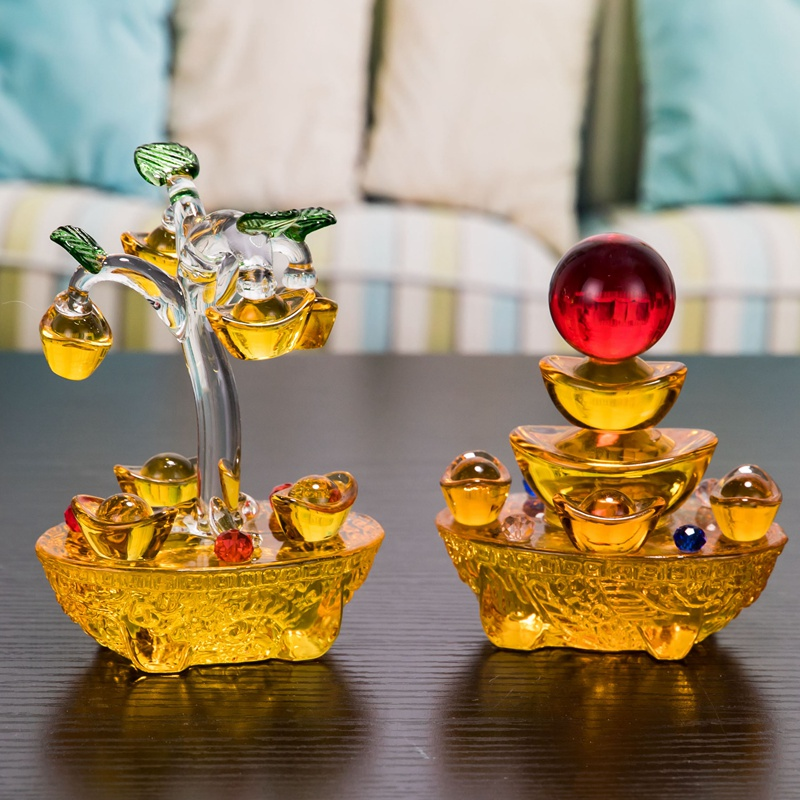 Golden Yellow Ingots Fortune Tree Lucky Tree Ornaments Glass Craft Car Ornaments Auto Interior Decorations Ornament Accessories