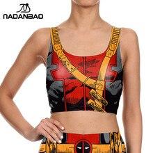 NADANBAO Crop Top Comic Camis Deadpool Print Women tank tops Colorful sleeveless Tee Vest