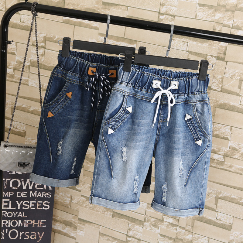 Summer Women Ripped Hole Drawstring Short Pants Harem Knee-length Denim Jeans Pants Fashion Plus Size 5XL Short Femme TT2615