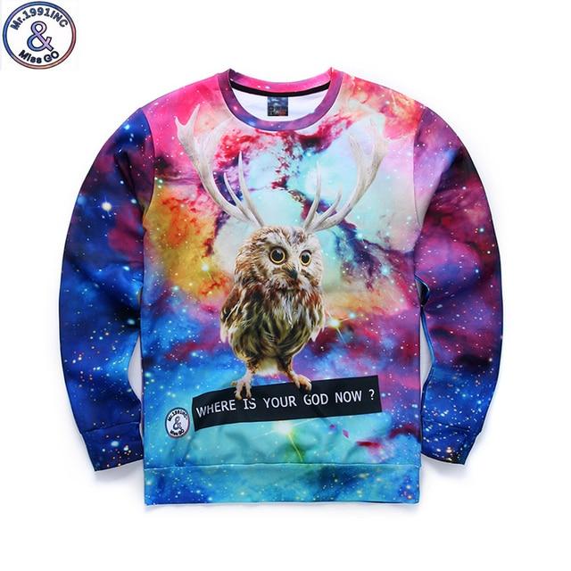 Mr.1991 бренд 12-18 лет большие дети футболка мальчики молодежная мода 3D забавный Сова отпечатано толстовки девушки бегуном sportwear подростки W24