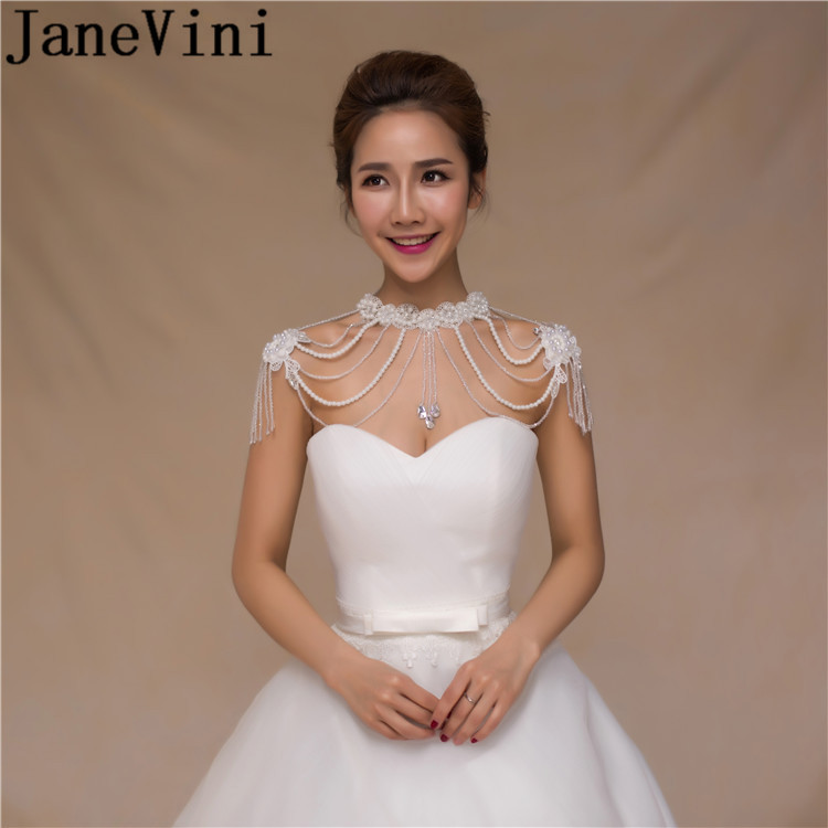 JaneVini Beaded Crystal Handmade Bridal Shoulder Necklace Pearl Women Pageant Prom Wedding Shoulder Jewelry Chain Necklaces
