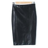 Phụ nữ Faux Leather Cao slim Eo Váy 2017 Casual Ống Bọc Bodycon PU Pencil Skirts Midi Saias Femininos